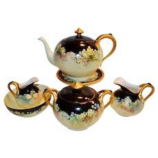 Teapot Set ~ 8 Pieces~ Yellow Roses~ Haviland Limoges France 1894-1931
