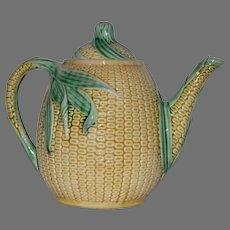 VERY RARE!! Teapot ~ Etruscan Majolica Corn Design ~ Griffen Smith & Hill ~ Phoenixville, PA 1879-1880