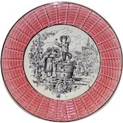 """Awesome 7"""" French Faience Plate ~ October w/ Children Stomping Grapes ~ Digoin Sarreguemines 1900's"""