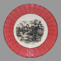 "Awesome 7"" French Faience Plate ~ April ~ Shepard and Goat ~ Digoin Sarreguemines 1900's"