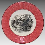 """Awesome 7"""" French Faience Plate ~ April ~ Shepard and Goat ~ Digoin Sarreguemines 1900's"""