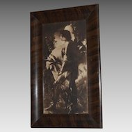 Vintage Lithograph Print Sir Galahad Knight & Horse In Tiger Wood Veneer Frame approx. 1920-30's