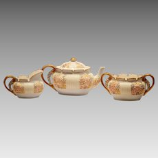 Rare Teapot Creamer & Sugar Set ~  Porcelain ~ Lotus Ware ~ Venice mold ~ Soft Pastel Flowers ~ Hand Painted ~ Knowles Taylor & Knowles ~ Liverpool, Ohio 1892 – 1896