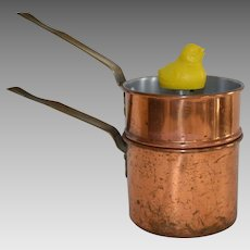 "Vintage Copper Cookware by Revere called ""Chick Whistling Egg Cooker"" with bright yellow chick 1929-1932"