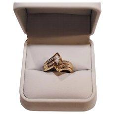Beautiful Engagement / Wedding  Ring Set ~ 14 Karat Marquise Diamond  .42 Carats &  54 Baguette .27 Carats Size 6 1/2