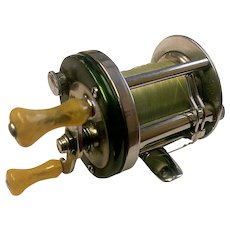 "Vintage Shakespeare baitcasting fishing reel. Marhoff model 1964, ""GE"".  Made in 1946."