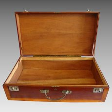 "Wooden Storage Chest /  Suitcase / Box ~28"" Hand Crafted~ Mahogany and Cherry ~ Leather Handle LATE 1930's"