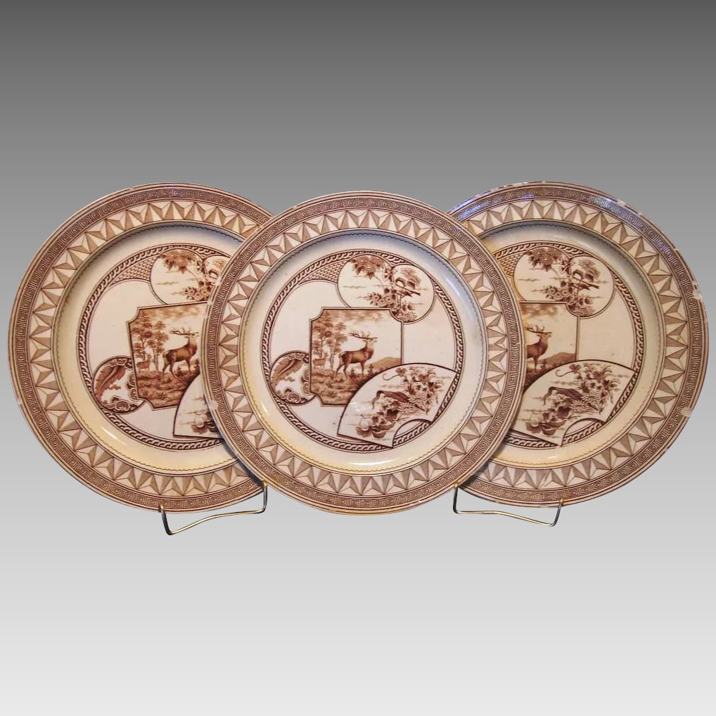 Click to expand  sc 1 st  Ruby Lane & 3) ~ Old English Earthenware Dinner Plates 9 3/8u201d ~Brown Transfer ...