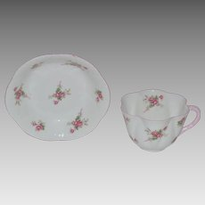 Shelley Bone China Cup & Berry Bowl ~ Rose Spray / Bridal Rose Pattern 13545~ Dainty Shape ~ Shelley England 1940-1966