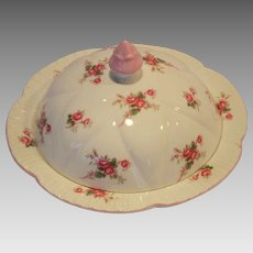 Shelley Bone China Muffin Holder Dish / Butter Dish ~ Rose Spray / Bridal Rose Pattern 13545~ Dainty Shape ~ Shelley England 1940-1966