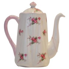 Shelley Bone China Coffee Pot ~ 3 Cup ~ Rose Spray / Bridal Rose Pattern 13545~ Dainty Shape ~ Shelley England 1940-1966