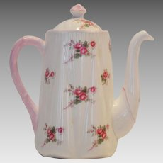 Shelley Bone China Coffee Pot ~ 3 Cup ~ Rose Spray / Bridal Rose Pattern 13545~ Dainty Shape ~ Shelley England 1940-1966
