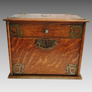 English Oak Smoking Box / Chest ~ Brass Handles and Brass Decorated Ca 1890's
