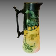 """Fantastic 15"""" Belleek Tankard Hand Painted with Dragon and Berries ~ Willet Belleek  1879-1912"""