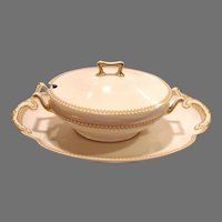 "Tureen with Platter ~Large 18"" Limoges Porcelain~ Green and Rust Diamond Designs ~ Theodore Haviland Limoges France /Wanamaker Company 1903"