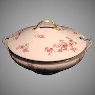 Wonderful Large Round Limoges Porcelain Soup Tureen, Decorated with  Dark & Light Pink Roses ~ GDA - Gerard Dufraisseix Morel / CF Haviland  1900-1941