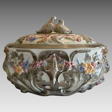 Wedgwood Game Pie Tureen ~ English Majolica  ~ Decorated with Game, Griffin & Dolphin ~ Wedgwood ~ Tunstall England ca 1870