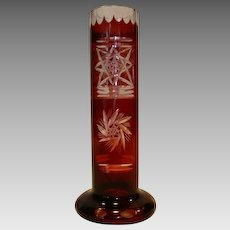 Beautiful Glass Bud Vase ~ Red Cut to Clear ~ Pinwheel and Star Motif