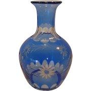 Wonderful Blue Flash cut to clear Crystal Vase / Decanter ~ Floral Design