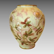 Beautiful Limoges Porcelain Vase ~ Matte Finish with Hand Painted Pink Flower ~ R. DELINIERES - D. & Co (Limoges, France) - ca 1879 - 1900
