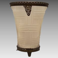 Stunning  Satin Glass Vase with 24K Gold Plated Ormolu Collar & Footed Base 1920's