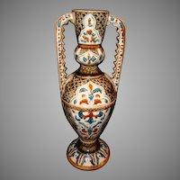 Superb Majolica Double Handled Vase ~ Hurculaneum