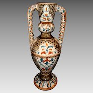 Superb Majolica Double Handled Vase ~ Hurculaneum