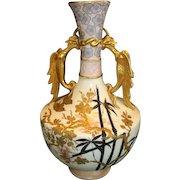 "Vase Fantastic English Earthenware 14"" Tall ~ Asian Pattern ~ Old Hall Potter ~ Hanley Staffordshire England 1884-1886."