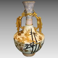 "Vase Fantastic English Earthenware 14"" Tall ~ Asian Pattern ~ Old Hall Potter ~ Hanley Staffordshire England 1884-1886."