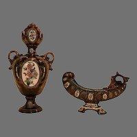 Stunning matched set of Austrian/Bohemian Majolica Vase and Card holder ~ Gerbing & Stephan 1885-1895