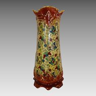 "Colorful Faience / Earthenware  14"" Vase ~American Pottery.  Haynes Balt Ware ~ Art Nouveau Pattern ca.1900 -1914 ~ DF Haynes (Chesapeake Pottery) Baltimore Maryland"