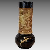 """Gorgeous English Vase with Lizards, Scarab and Oriental Design ~14 ½"""" Tall  ~  Bretby Art Pottery  England 1883 – 1918"""