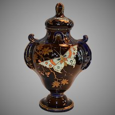 """Faience Covered Urn / Vase ~11"""" Tall ~ Brown and Cobalt ~ Japanesque Dragonfly / Butterfly Coralene ~ Hautin & Boulanger (Or Boulenger) - H.B. & Cie Choisy Le Roi FRANCE 1836-1930"""