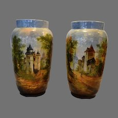 Faience Vases ~ Barbotine ~ Mountain Village Scenes ~Theodore LeFront – Fontainebleau France 1835 – 1893