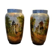 """Exquisite Pair of large 12"""" Faience Vases ~ Barbotine Slip ~ Decorated with Mountain Village Scenes ~Theodore LeFront – Fontainebleau France 1835 – 1893"""