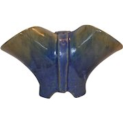 Chinese Blue Fulper Buckle Vase ~ Hard to Find ~ Mold T37 ~ Fulper Pottery, Flemington, NJ  1899-1929