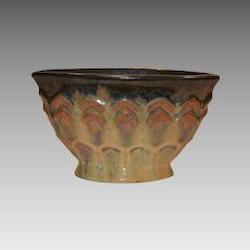 Wonderful Fulper Pillow Vase with Cats Eye Flambe Glaze and Zig Zag designs ~ Fulper Pottery Company 1910-1929