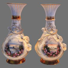 Pair of Vases ~Old Paris Porcelain Hand Painted Sea Side Scene with Applied Flowers and Vines ~ 1800's