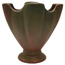 Niloak Fan Pedestal Vase ~ Green over Pink ~ Niloak Pottery Benton AR mid 1900's