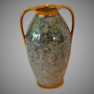 "Gorgeous 5 ½"" H Vase ~ Double Handled Blue & Cream Mottled Design ~ Pickard Studios IL 1930-1938 / R. S. Germany"
