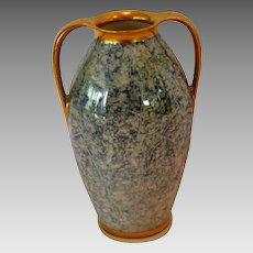 "Gorgeous 5 ½"" H Vase ~ Double Handled Blue & Cream Mottled Design ~ Pickard Studios IL 1930-1938 / R. S. Germany"