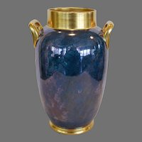 "Gorgeous Large Vase – Pickard Decorated ~11 1/4"" Tall Porcelain Vase ~ Double Handled Blue, Violet & Silver Mottled Design ~Pickard Studios Chicago IL 1918-1919"