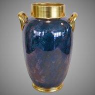 "Gorgeous Large Vase – Pickard Decorated ~11 1/4"" Tall Porcelain Vase ~ Double Handled Blue, Violet & Silver Mottled Design ~Pickard Studios Chicago IL 1918-1919"