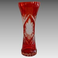 Bohemian Vase ~ Cranberry / Red Cut to Clear early 1900's
