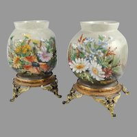 Faience Vases ~ Pair   ~  Floral Art Pottery ~ Ormolu  Mounted  ~ Theodore Lefront ~ Fontainebleau France 1860-1884