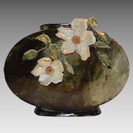 Large  Pillow Vase ~Art Pottery  ~ Majolica Barbotine ~ Applied White Flowers ~ Thomas Jerome Wheatley, 1880-1883, Ohio, United States