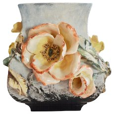 Barbotine Vase ~ Gros Relief Flowers ~ Mold 290 ~ FMC Faience Manufacturing Company GREENPOINT, BROOKLYN, NEW YORK 1880-1892