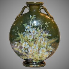 """Majolica Moon Vase ~ 10""""~ Terra Cotta ~ Green with Raised Relief Blue Flowers"""