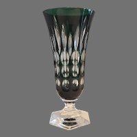 Crystal Vase ~ Emerald Green cut to Clear ~ Val Saint Lambert Belgium 1908-1935,  1950's