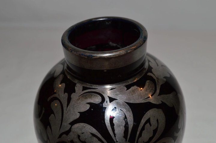 Gorgeous Black Amethyst Vase With Silver Overlay Timber Hills